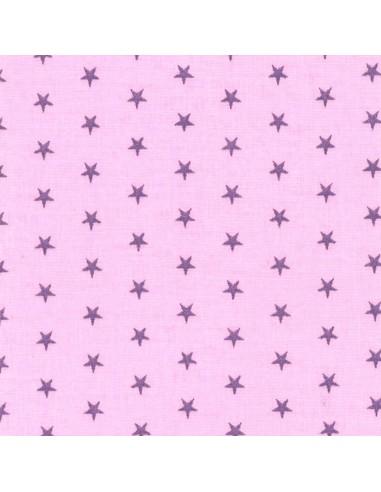 Tissu en coton léger coloris Dragée à étoiles Pervenche