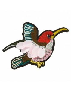 Thermocollant Oiseau brodé avec strass et perles