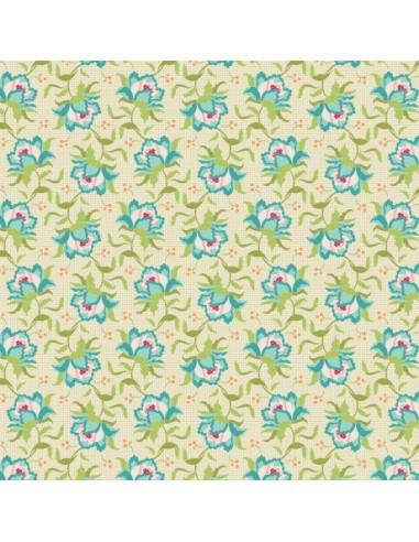 Tissu en coton Circus - Clown flower green