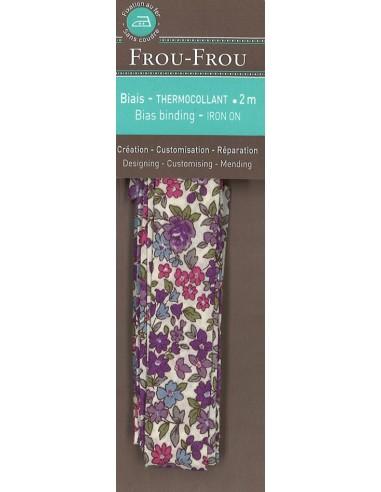 Biais thermocollant Fleuri Nina coloris Mauve - 2m