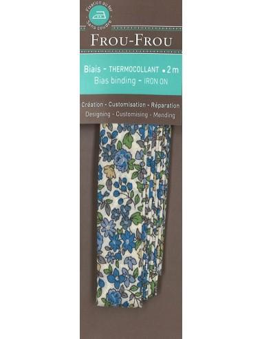 Biais thermocollant Fleuri Nina coloris Bleu - 2m