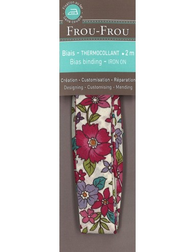 Biais thermocollant Fleuri Lisa coloris Framboise - 2m