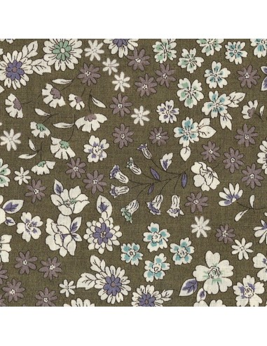 Tissu en coton léger Fleuri Mia coloris olive