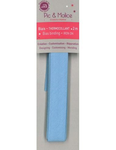 Biais thermocollant Unis Bleu ciel - 2m