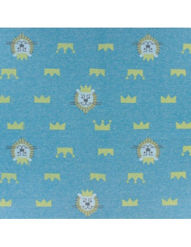 Tissu sweat Le roi des animaux - bleu et jaune