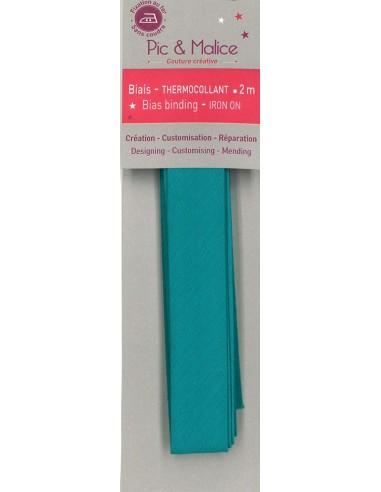 Biais thermocollant Unis Bleu Paon - 2m