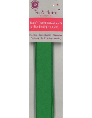 Biais thermocollant Unis Vert - 2m