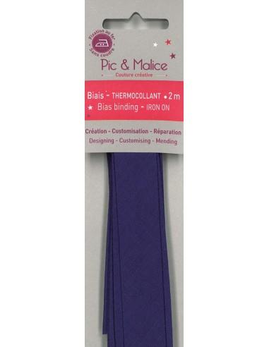 Biais thermocollant Unis Violet - 2m