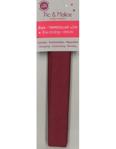 Biais thermocollant Unis Bordeaux - 2m
