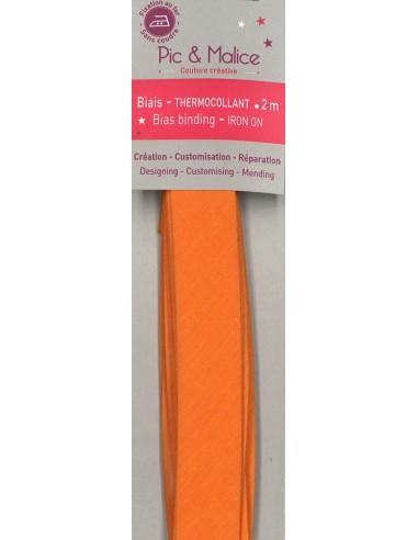 Biais thermocollant Unis Orange - 2m