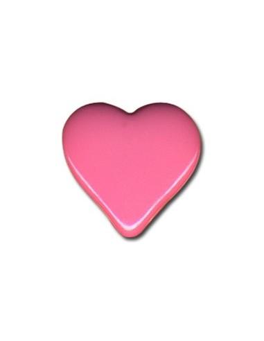 Bouton Coeur 15mm Rose bonbon
