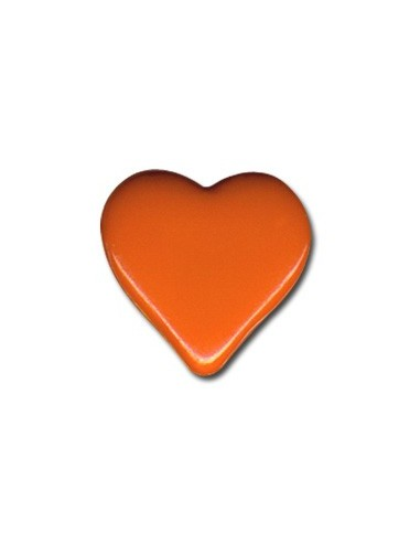 Bouton Coeur 15mm Orange