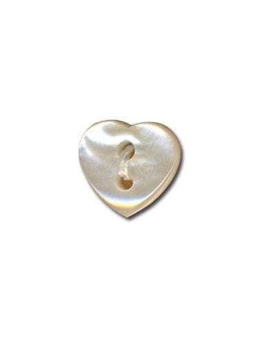 Bouton Coeur effet nacre 12mm Blanc cassé