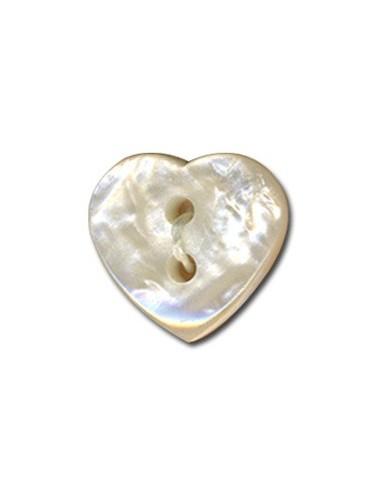 Bouton Coeur effet nacre 15mm Blanc cassé