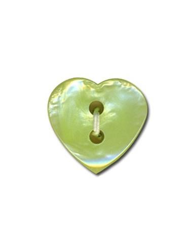 Bouton Coeur effet nacre 15mm Vert
