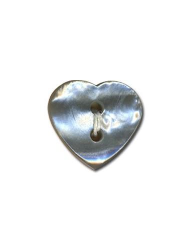 Bouton Coeur effet nacre 15mm Gris