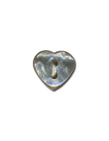Bouton Coeur effet nacre 12mm Gris