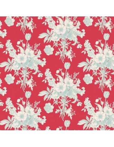 Tissu en coton Cottage - Botanical red