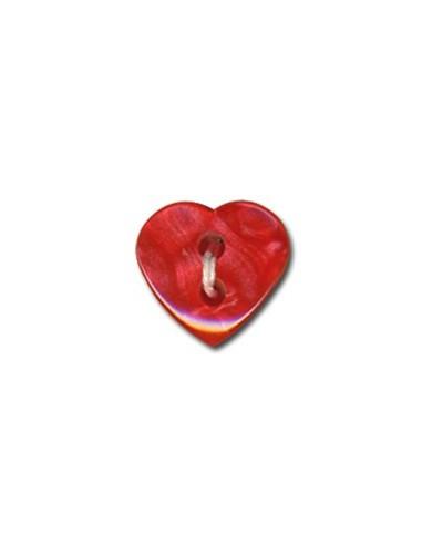 Bouton Coeur effet nacre 12mm Rouge