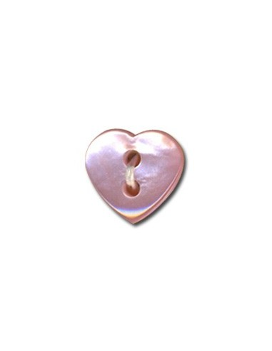 Bouton Coeur effet nacre 12mm Rose