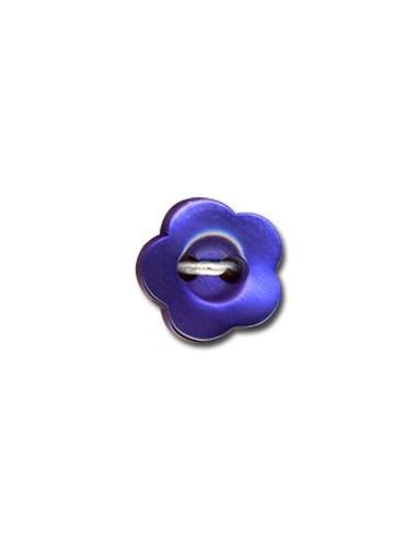 Bouton Fleur 12mm Bleu