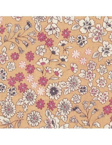 Tissu en coton léger Fleuri Mia coloris chair