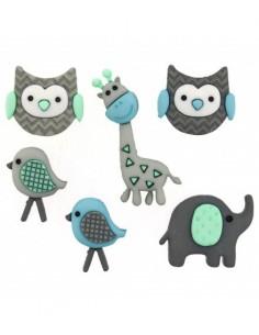 Assortiment de 6 boutons décoratifs - Collection naissance - hiboux