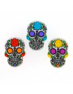 Assortiment de 3 boutons décoratifs - Collection fantaisie - Calaveras