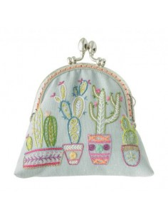 Kit à broder - Porte-monnaie Aïe ça pique jolis cactus