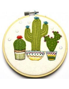 Kit créatif en feutrine - tambour appliqué cactus en pot