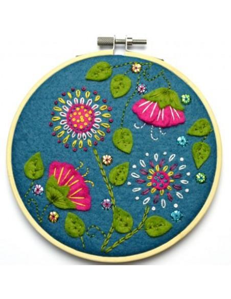 Kit créatif en feutrine - tambour appliqué fleurs tropicales
