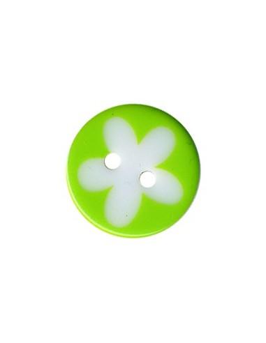 Bouton Rond à fleur 13mm Vert et Blanc