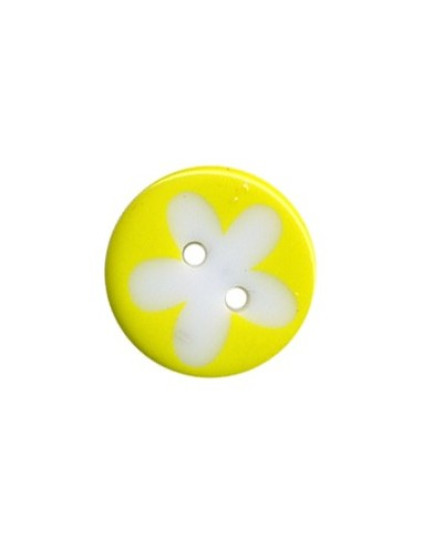 Bouton Rond à fleur 13mm Jaune et Blanc