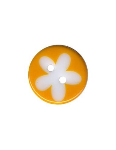 Bouton Rond à fleur 13mm Melon et Blanc