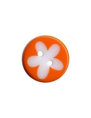 Bouton Rond à fleur 13mm Orange et Blanc
