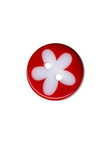 Bouton Rond à fleur 13mm Rouge et Blanc