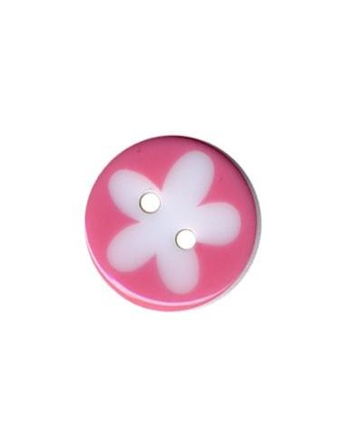 Bouton Rond à fleur 13mm Rose et Blanc