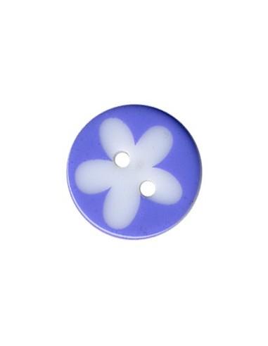 Bouton Rond à fleur 13mm Lilas et Blanc