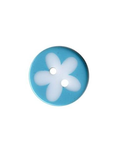 Bouton Rond à fleur 13mm Turquoise et Blanc