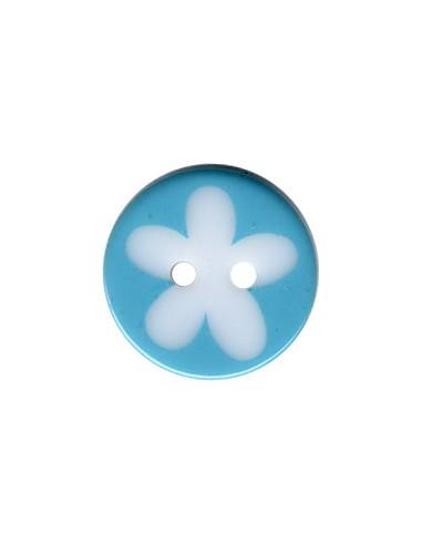Bouton Rond à fleur 16mm Turquoise et Blanc