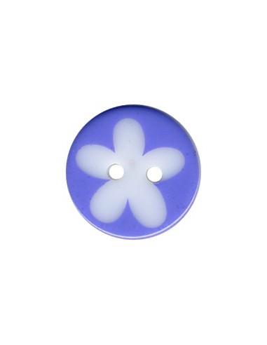 Bouton Rond à fleur 16mm Lilas et Blanc
