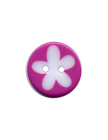 Bouton Rond à fleur 16mm Magenta et Blanc