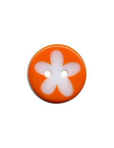 Bouton Rond à fleur 16mm Orange et Blanc