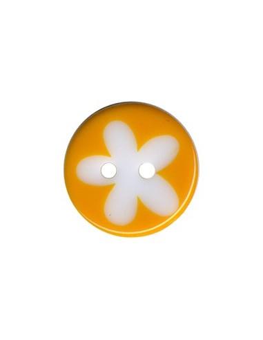 Bouton Rond à fleur 16mm Melon et Blanc