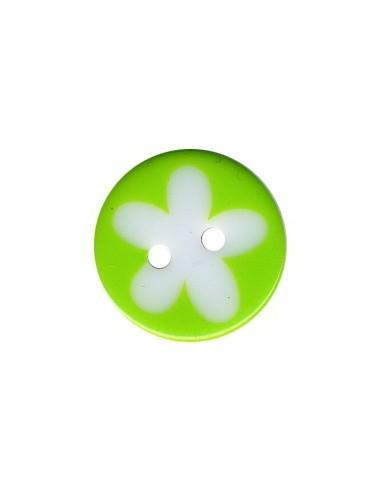 Bouton Rond à fleur 16mm Vert et Blanc