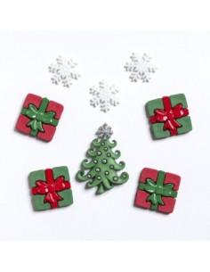 Assortiment de 8 boutons décoratifs - Collection Noël - Cadeaux