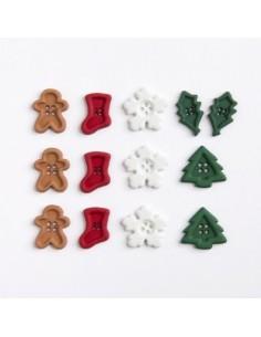 Assortiment de 13 boutons décoratifs - Collection Noël - mini forme de noël