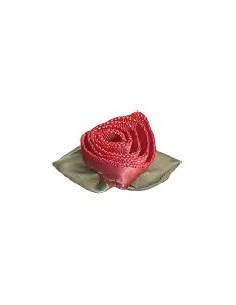 Rose en ruban de satin - corail